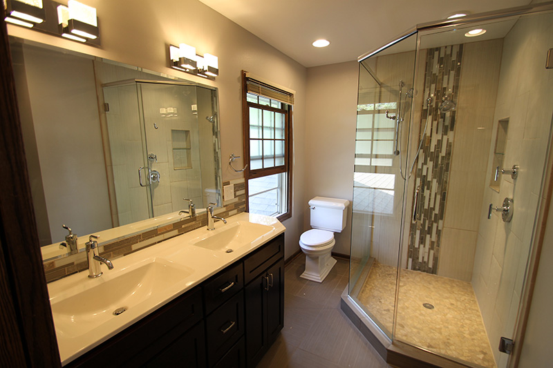 Amazing Mequon Bathroom Expansion With Double Vanity, Onyx Coutertop, And  Contemporary Walk In Shower.
